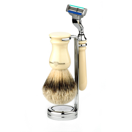 Pure badger hair brush on stand with razor