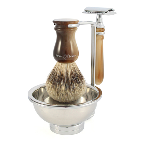 Badger hair brush on stand with razor and soap bowl