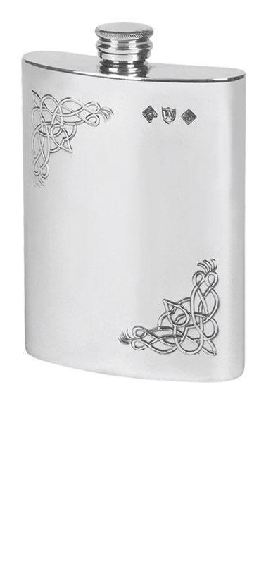 6oz Pewter hipflask with celtic design