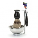 Badger hair brush with razor and soap bowl