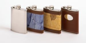 Collection of Hip Flasks at Morri and Kell of Gorey Co Wexford